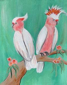 Pink Galahs Paint And Sip, Rooster, Charlotte, Paintings, Pink, Animals, Animales, Paint, Animaux