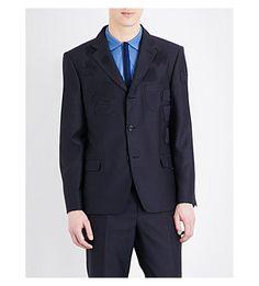 ALEXANDER MCQUEEN Patch-Detail Regular-Fit Wool And Cotton-Blend Jacket. #alexandermcqueen #cloth #blazers