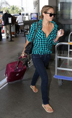 Lauren Conrad teal plaid button-down, skinny jeans, and flip flops. Cute casual style.
