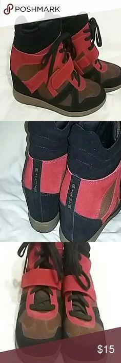Skechers wedge shoe Black, red, and brown skecher wedge tennis shoes Skechers Shoes Wedges