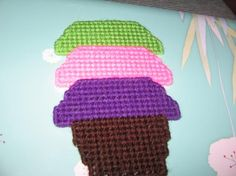 Homemade Plastic Canvas Cupcake Magnets