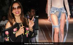 Bipasha Basu rejected Thibaut's latest Thong Jeans, which debuted at Tokyo's Amazon Fashion Week last week Actress Bipasha Basu stumbled upon an avant-garde fashion item (which FYI, has bemused the Internet for the past week) - the thong jeans, which debuted during last week's Amazon Fashion Week in Tokyo.