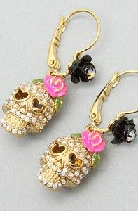 Betsey Johnson earrings for fun and my Day of the Dead costume