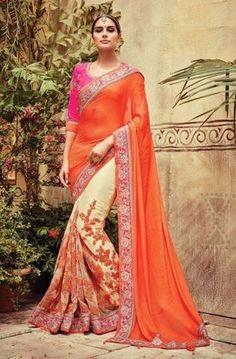 Cream & Orange Pure Georgette & Net Designer Saree ,Indian Dresses - 1