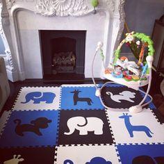 "Amazon.com - SoftTiles Safari Animals Foam Play Mat w/sloped borders (Blue, Black, White) Large Play Mat 78"" x 78"" #playroom #kidsdecor"