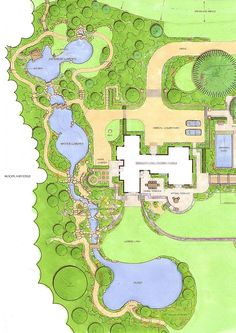 Ways with Water is a new water garden consisting of a koi pond within a Japanese style garden and culminating in a large reflecting pond via a series of pools and waterfalls Garden Design Plans, Landscape Design Plans, Landscape Architecture, Landscape Drawings, Cool Landscapes, Small Yard Landscaping, Landscaping Design, Garden Park, Td Garden