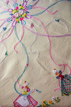 @ Betty&Annie: Vintage embroidered tablecloth - ladies dancing round a maypole. What lovely work! Vintage Embroidery, Ribbon Embroidery, Cross Stitch Embroidery, Embroidery Patterns, Stitch Crochet, Bordados E Cia, Embroidery Transfers, Vintage Tablecloths, Vintage Textiles
