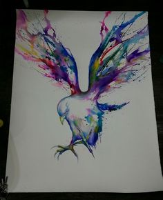 Watercolour tattoo idea I don't usually like watercolor but I really like this one!!!