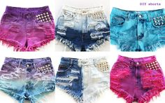 DIY shorts Studs and Tye dye - so many great ideas!