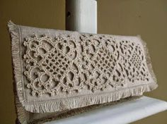 Items similar to The Frilly - Hemp Lace Motif on Unbleached Linen Clutch on EtsyIrish lace, crochet, crochet patterns, clothing and decorations for the house, crocheted.Crochet - picture only WITHOUT scheme. Crochet Diy, Bag Crochet, Crochet Clutch, Crochet Handbags, Crochet Purses, Crochet Home, Crochet Motif, Irish Crochet, Crochet Patterns