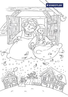 Vrouw Holle Coloring Pages For Grown Ups, Coloring Pages For Kids, Coloring Books, Free Printable Coloring Pages, Free Coloring Pages, Winter Project, Rainy Day Activities, Color Stories, Disney Cartoons