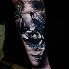 Tattoo artist Benji Roketlauncha Ortega authors style black&grey and color portrait realism, surrealism Modern Tattoos, Unique Tattoos, Beautiful Tattoos, Venetian Mask Tattoo, Masquerade Mask Tattoo, Tattoo Bunt, Forarm Tattoos, Tatoos, Catrina Tattoo