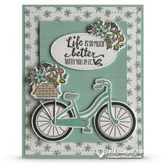"""CARD """"Life is so much better with you in it"""" card from the Stampin Up Bike Ride … - Geburtstagskarte Diy Tarjetas Stampin Up, Stampin Up Karten, Bicycle Cards, Stampin Up Catalog, Stamping Up Cards, Marianne Design, Cards For Friends, Ink Pads, How To Better Yourself"""