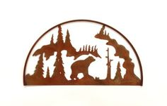 This Bear Hoop is great for indoors and outdoors.  Choose from a finish of Clear-Coated, Natural Rust Patina or a Shimmering, Black Hammered finish. The bear silhouette scene is a very clean and simple look for high-end or rustic lodge themes.  The outer square frame adds a unique element of dimension.  Measures appx: 28 x 16