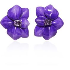 Sabbadini Amethyst Flower Earrings ($4,500) ❤ liked on Polyvore featuring jewelry, earrings, blossom jewelry, flower earrings, flower jewellery, flower jewelry and earring jewelry
