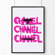 Poster poster pink Chanel logo and perfume original by Elegantwall