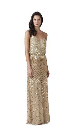 Style#: 091869160              Colors: Gold              Long Blouson Dress