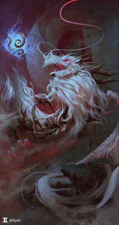 ArtStation - The white dragon, kylin li Mythical Creatures Art, Mythological Creatures, Magical Creatures, Fantasy Creatures, Art Vampire, Vampire Knight, Monster Design, Monster Art, Fantasy Dragon