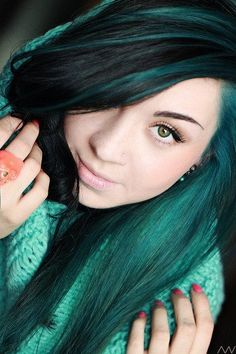 Teal Highlighted Long Black Straight Hairstyle