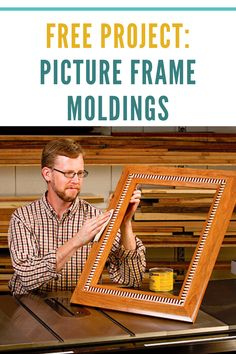 Here's a handsome picture frame plan — and a great way to show off a x portrait or art print. All you need is a sharp combo blade and a dado set. Cool Woodworking Projects, Diy Woodworking, Picture Frame Molding, Picture Frames, Dentil Moulding, Box Joints, Unique Buildings, Craft Show Ideas, Diy Frame