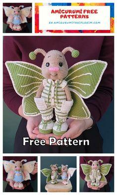 Doll Amigurumi Free Pattern, Crochet Amigurumi Free Patterns, Crochet Animal Patterns, Crochet Bear, Stuffed Animal Patterns, Cute Crochet, Crochet Butterfly Free Pattern, Crochet Projects, Knitting