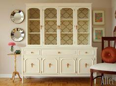 hutch makeover (cottage white, antique gold Rub n Buff, stencil interior)  | followpics.co