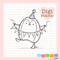 This Digital Stamp is of a cute Penguin celebrating his Birthday! Celebration Penguin is my original illustration (c)Heidi Arrowood 2 Cute Ink      WHAT