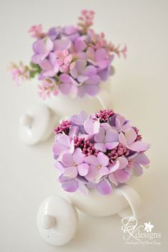 Clay Flowers (Lavender, Hydrangea) Teapot by DK Designs