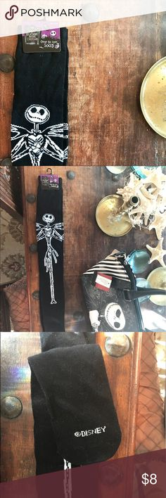 Nightmare Before Christmas Over the Knee Socks Black over-the-knee socks with a Jack Skellington design. 71% Acrylic, 27% Polyester, 2% Spandex. Fits shoe sizes 4-10 Hot Topic Shoes