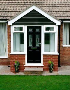 Diligent channeled entrance porch design See deals Porch Uk, Porch Doors, Exterior Front Doors, House With Porch, House Front, Porch Entry, Porch Designs Uk, Simple Porch Designs, Front Porch Design