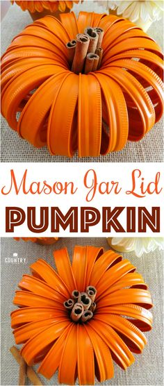 Mason Jar Lid Pumpkins from The Country Cook make the most adorable fall decoration.
