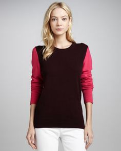 Shane Cashmere Colorblock Sweater, Cabernet/Fuchsia at CUSP.