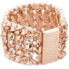 """LK Designs """"Summer Breeze"""" Rose Gold Colored Crystal Bracelet"""