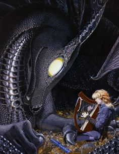 A majestic black dragon listens to the bard play her harp on her hoard of gold. By Robbin Wood Fantasy Creatures, Mythical Creatures, Dragon Oriental, Robin, Fantasy Literature, Dragon Images, Dragon Rider, Fantasy Kunst, Fantasy Dragon