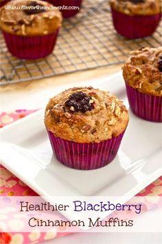 Healthier Blackberry Cinnamon Muffins | Flavor the Moments #muffins #breakfast #blackberries