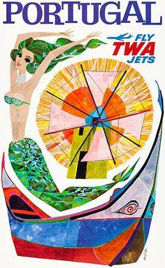 Original TWA Portugal Travel Poster - Vintage European Posters - Brands One Kings Lane Travel Ads, Vintage Travel Posters, Vintage Airline, Poster Vintage, Graphic Artwork, Vintage Colors, Vintage Style, Vintage Modern, Portugal Travel