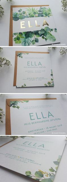 Botanical birth announcement card and gold foil Ella Wedding Card Design, Wedding Designs, Wedding Cards, Invitation Fete, Invitation Design, Invitation Ideas, Wedding Stationary, Wedding Invitations, Baby Announcement Cards