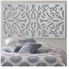 ฉากหลังหัวเตียงสวยๆค่ะ ติดต่อ line : signdd นะคะ  Headboards - The artwork above the bed almost looks like an intricate iron headboard, only much lighter with a coat of white paint.