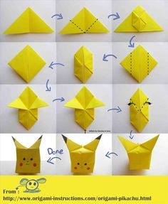 Are you a Pokémon fan? Or your kids are fond of Pikachu? These Pikachu origami tutorials are for all the Pokémon fans out there, just like you. First of all, you need a square piece of origami paper… Continue Reading → Instruções Origami, Design Origami, Origami Simple, Origami Tattoo, Origami Star Box, Origami Fish, Paper Crafts Origami, Origami Folding, Paper Crafting