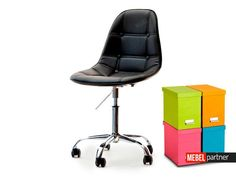 Krzesło obrotowe do biurka tapicerowane MOP MOVE TAP czarne - Mebel-Partner.pl
