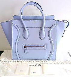 Nuevo-Autentico-Celine-Mini-cielo-azul-palido-Equipaje-Bolso-Bolso-Bolsa-de-cuero-de-becerro-liso