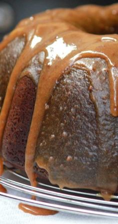 """Double Caramel Pound Cake - """"My family has made this for decades, and it is definitely an old time favorite. Bunt Cakes, Cupcake Cakes, Cupcakes, Just Desserts, Delicious Desserts, Dessert Recipes, Caramel Icing, Caramel Cakes, Snacks Saludables"""
