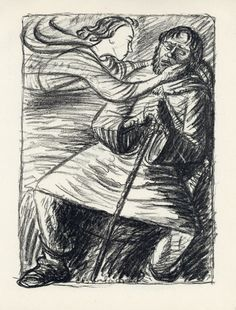 "Ernst Barlach - ""The Weary One"", original lithograph. Published in Berlin in 1916"