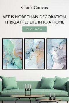 Clock Decor, Wall Art Decor, Ocean Canvas, Canvas Art, Beautiful Bouquet Of Flowers, Watercolor Canvas, Alcohol Ink Art, Dream Home Design, Interior Exterior