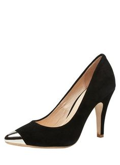 High heel pump with feature metal toe cap point. Leather upper and lining, synthetic sole.