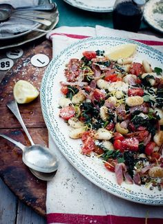 What Katie Ate: Birthday recipes... Gnocchi with pancetta, spinach, cherry tomatoes and toasted pumpkin seeds