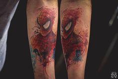 Macho Moda - Blog de Moda Masculina: TOP 10: As melhores Tatuagens Aquarela de Dêner Silva, spider man tattoo, spider man aquarela tattoo