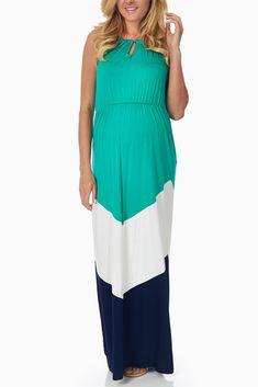Green-White-Navy-Blue-Colorblock-Maternity-Maxi-Dress #maternity #fashion