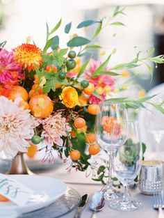 A Summer Citrus Wedding - Venue at the Grove Wedding Table Centerpieces, Wedding Flower Arrangements, Floral Centerpieces, Floral Arrangements, Wedding Decorations, Centerpiece Ideas, Aisle Decorations, Table Arrangements, Orange Wedding Flowers