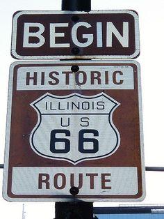 Road sign: Begin historic Route 66 #Route66 #roadtrip